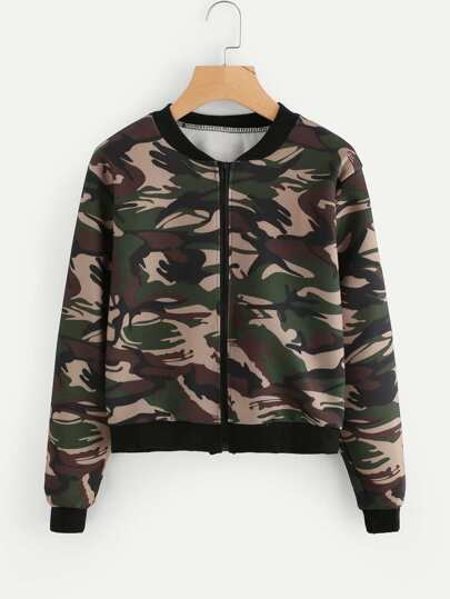 Camo Print Contrast Trim Zip Up Jacket