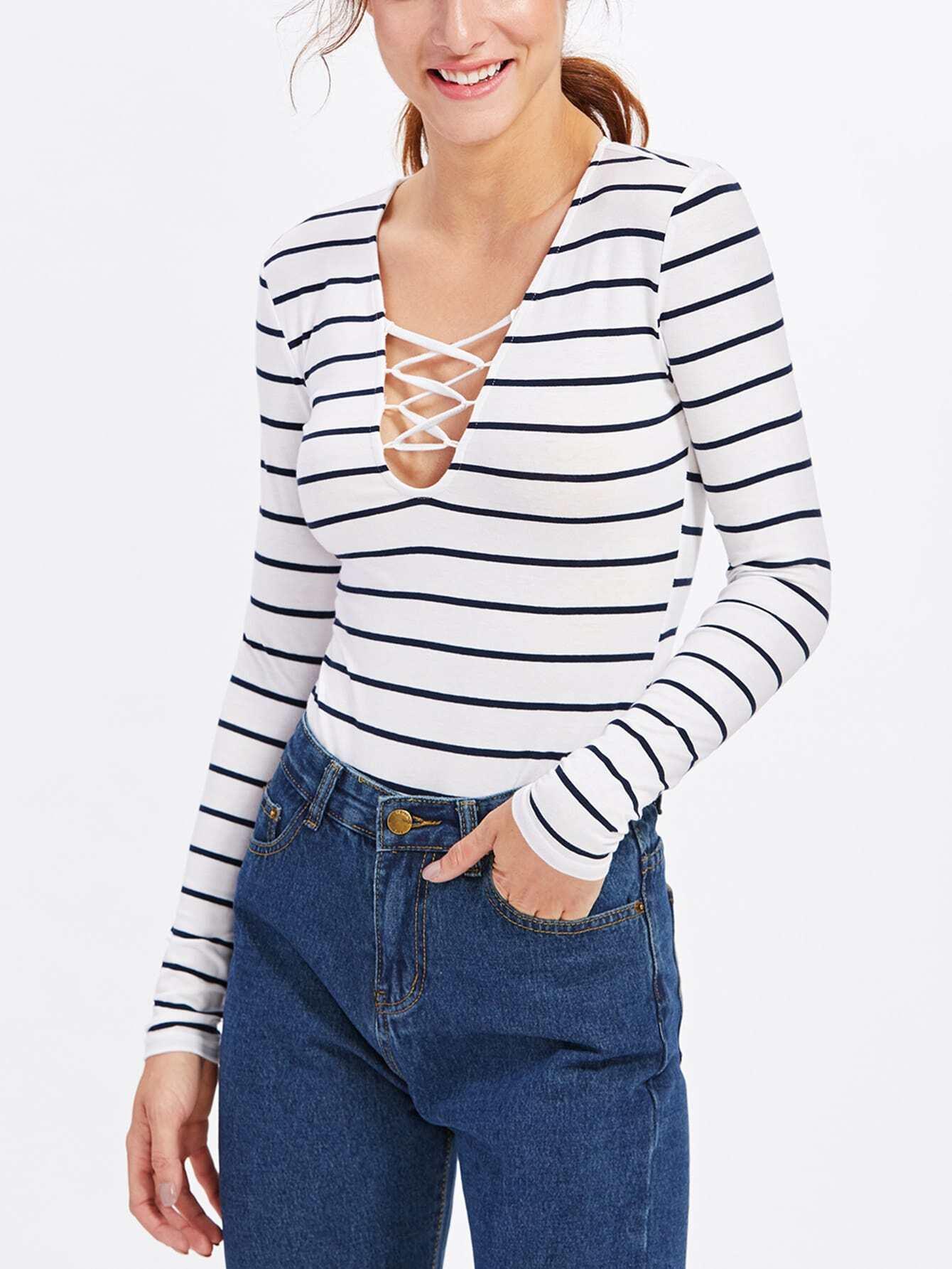 Crisscross Neck Slim Stripe Bodysuit bodysuit171020451