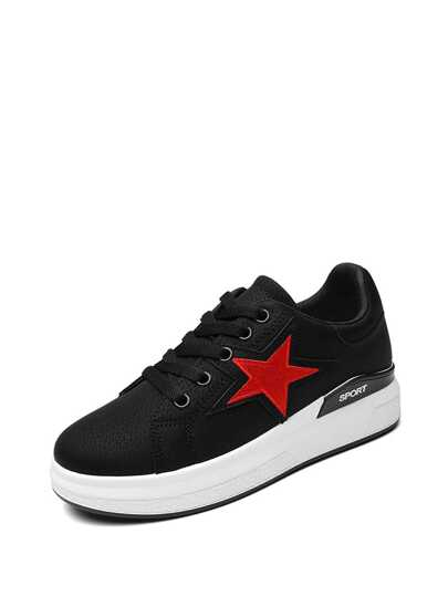 Star Patch Lace Up Sneakers