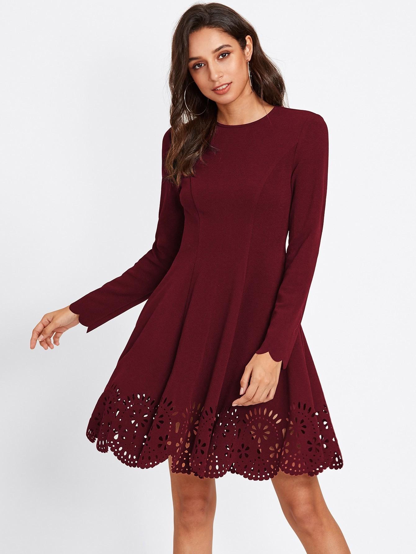 Купить Модное платье с узором и фестонами, Gabi B, SheIn