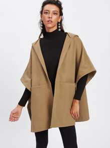 Buttoned Detail Poncho Coat