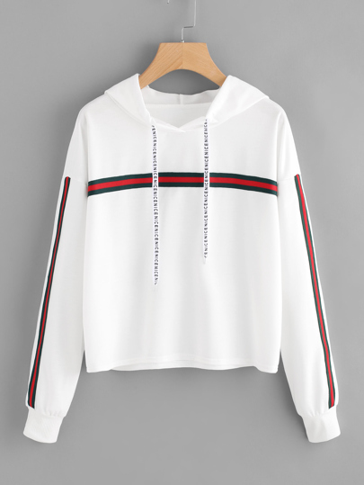 Striped Taped Trim Hoodie