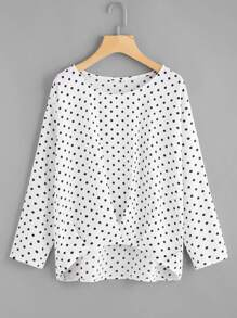 Drop Shoulder Dip Hem Spot Blouse