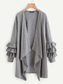 Tiered Ruffle Sleeve Drape Collar Duster Coat