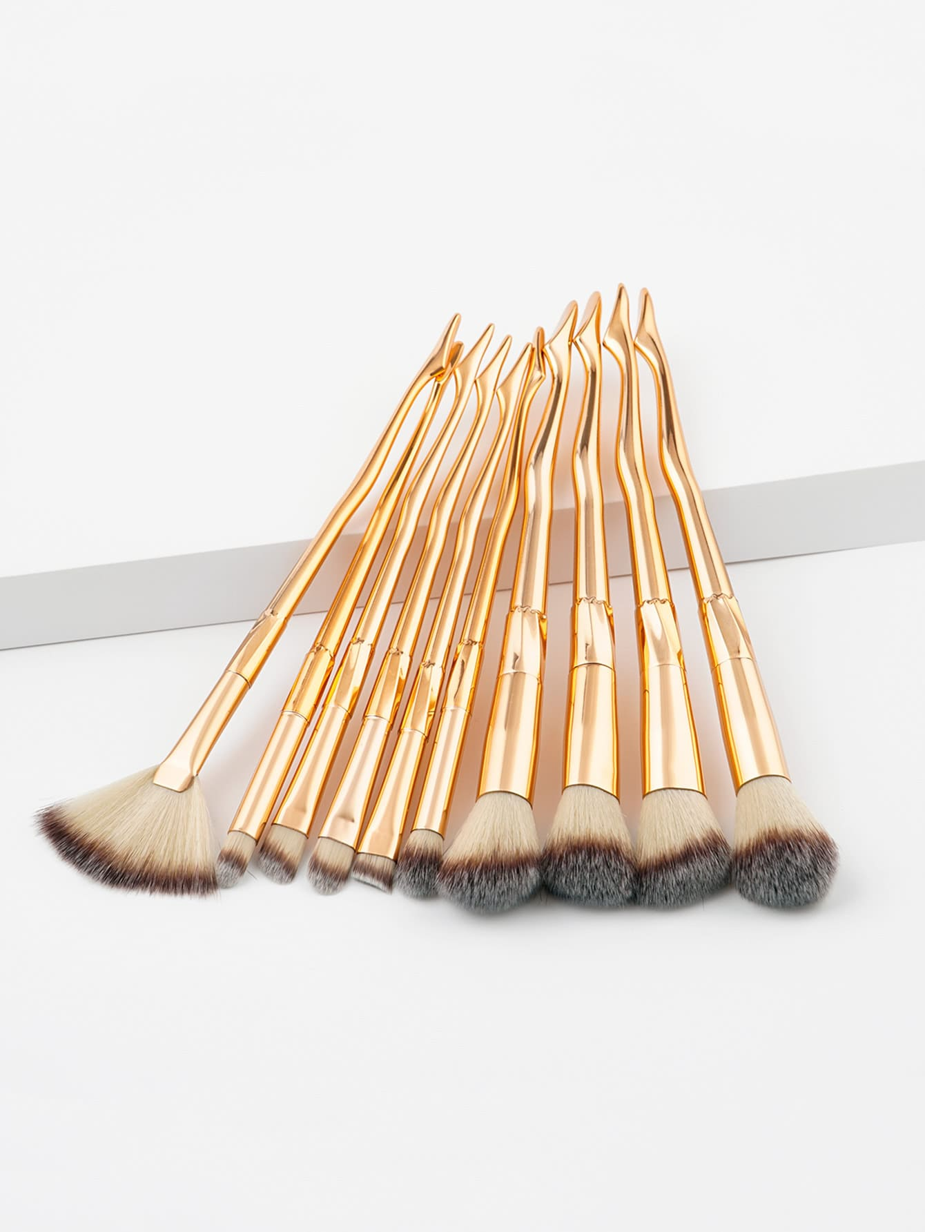 Metallic Handle Makeup Brush 10pcs