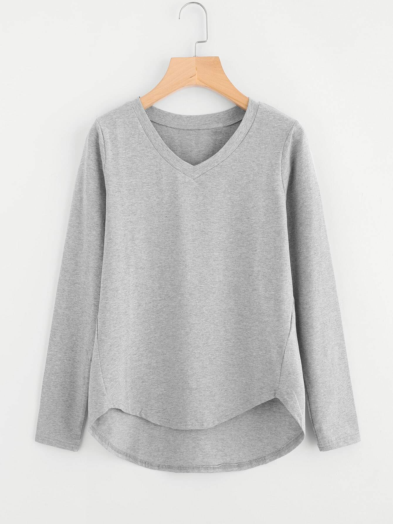 Heather Knit Dip Hem T-shirt heather knit dolphin hem tee dress