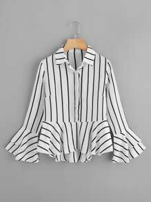 Tiered Fluted Sleeve Striped Dip Hem Frill Shirt
