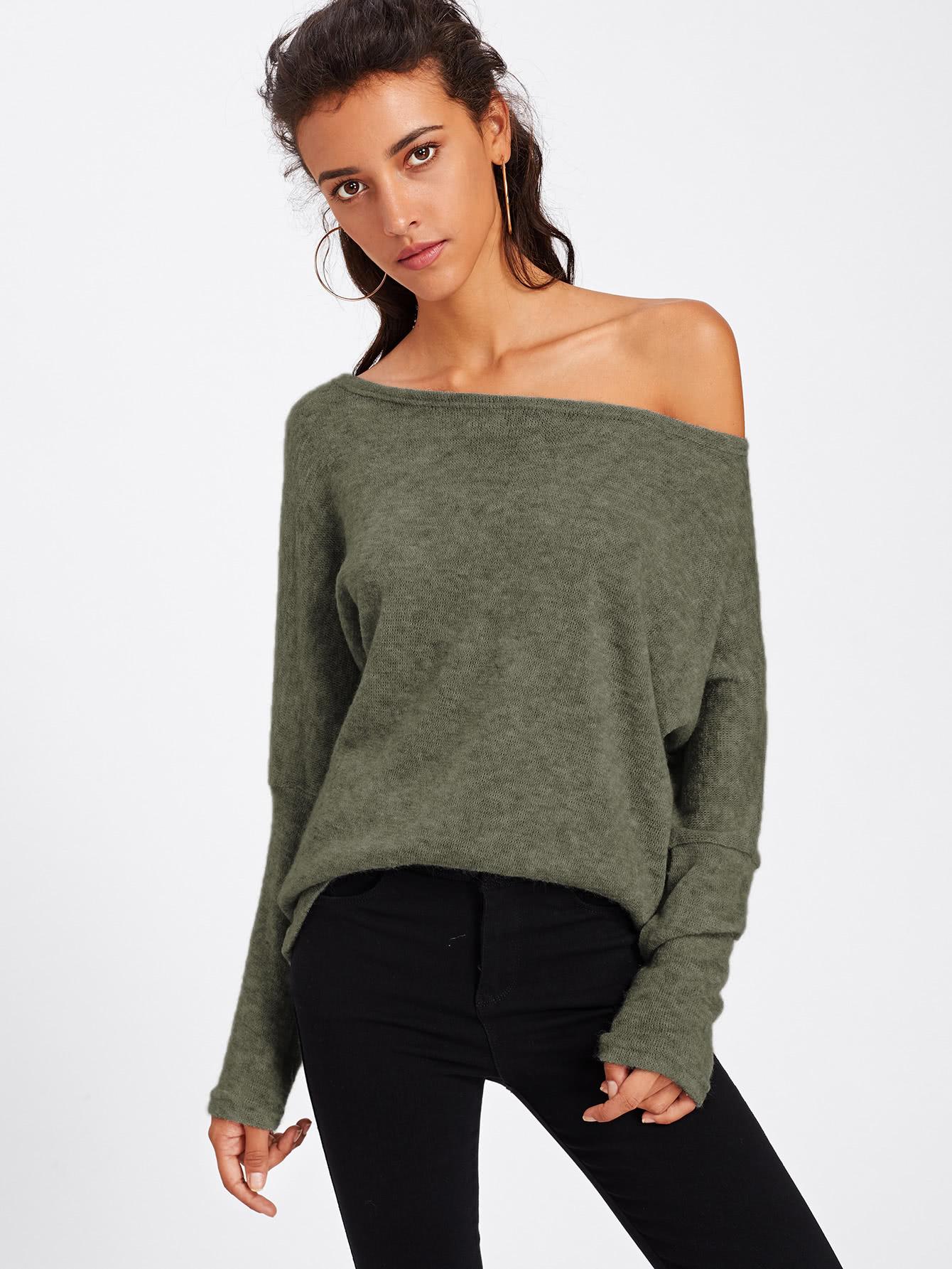Batwing Sleeve Sweater lip print batwing sleeve sweater