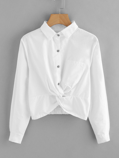 Single Breasted Chest Pocket Twist Shirt