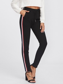 Striped Side Skinny Pants