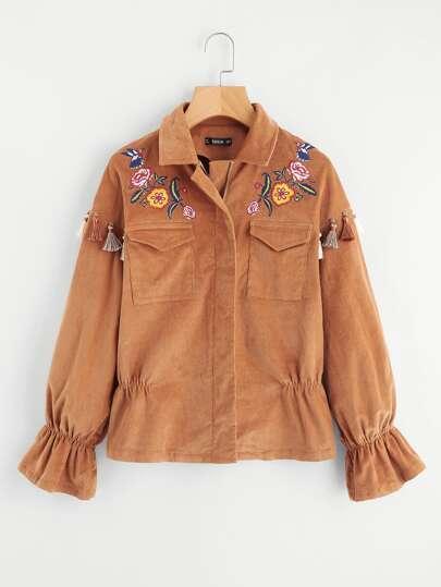 Модная куртка с бахромой и оборкой
