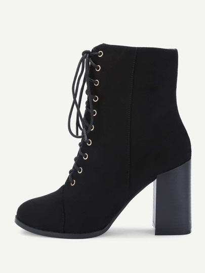 Lace Up Block Heeled Ankle Boots