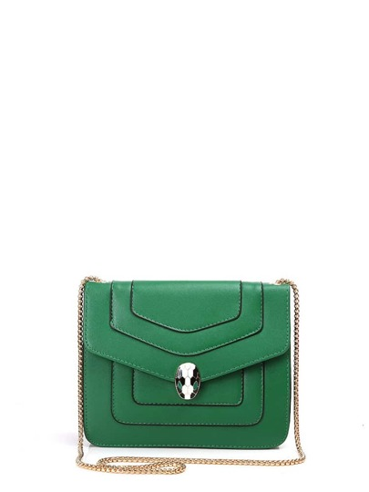 Snake Head Detail Piping Trim Crossbody Bag