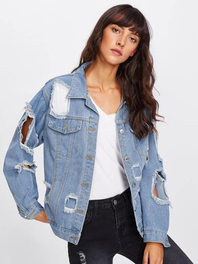 Distressing Single Breasted Denim Jacket