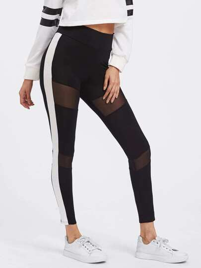 Mesh Insert Striped Side Leggings