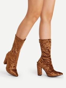 Pointed Toe Velvet Calf Length Boots