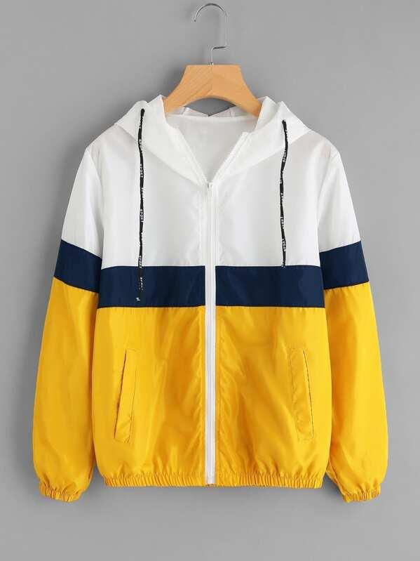 Color Block Elastic Waist Drawstring Jacket, null