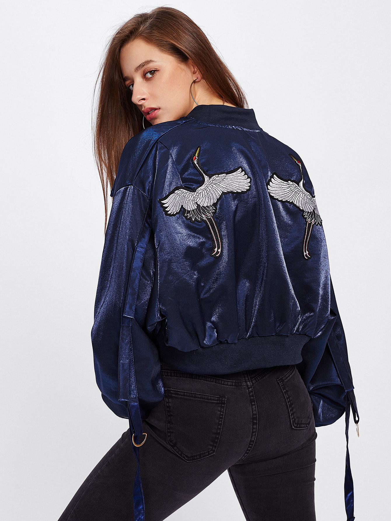 Red-crowned Crane Embroidered Strap Detail Jacket iron crowned