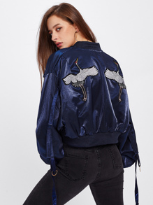 Red-crowned Crane Embroidered Strap Detail Jacket