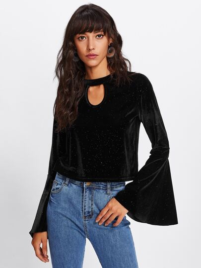 Rhinestone Embellished Fluted Sleeve Cutout Front Top