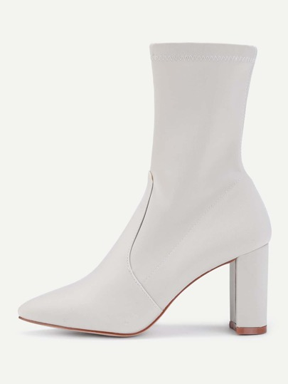 Pointed Toe Block Heeled Sock Boots