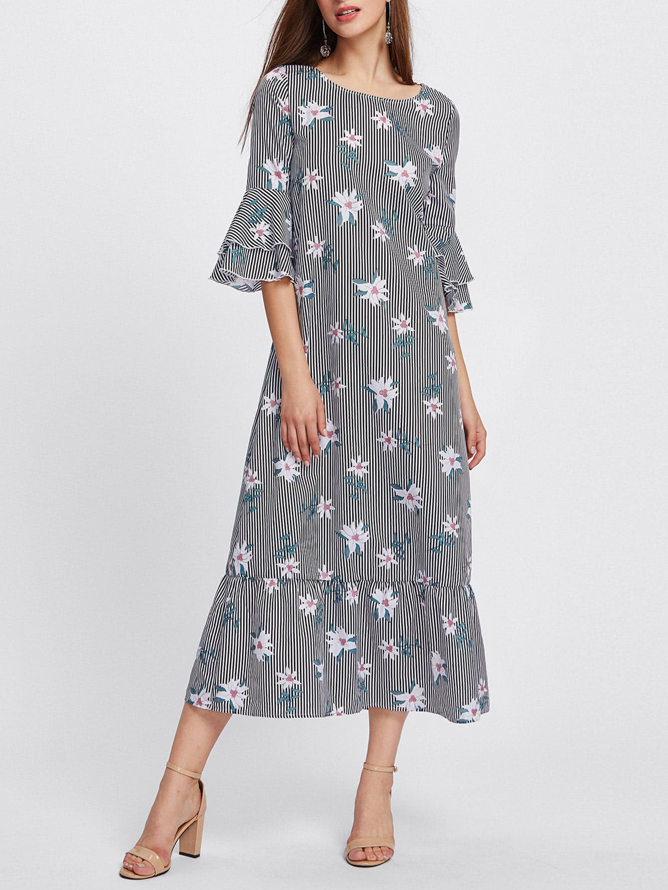 Layered Bell Sleeve Mixed Print Ruffle Hem Dress contrast layered ruffle hem pearl embellished dress