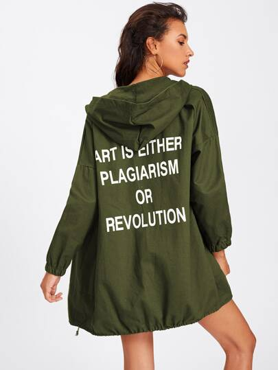 Slogan Print Back Drawstring Hem Hooded Coat