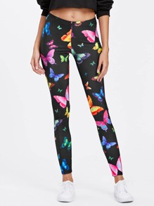 Leggings moulant imprimé papillon