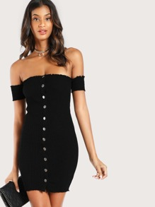 Snap Button Bardot Sleeve Dress BLACK