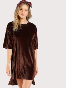 Tunic Velvet Dress CAMEL