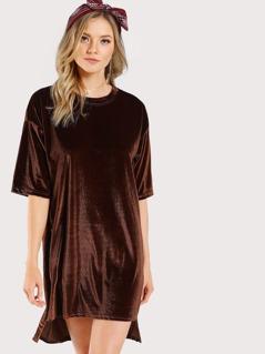 Tunic Velvet Dress CAMEL