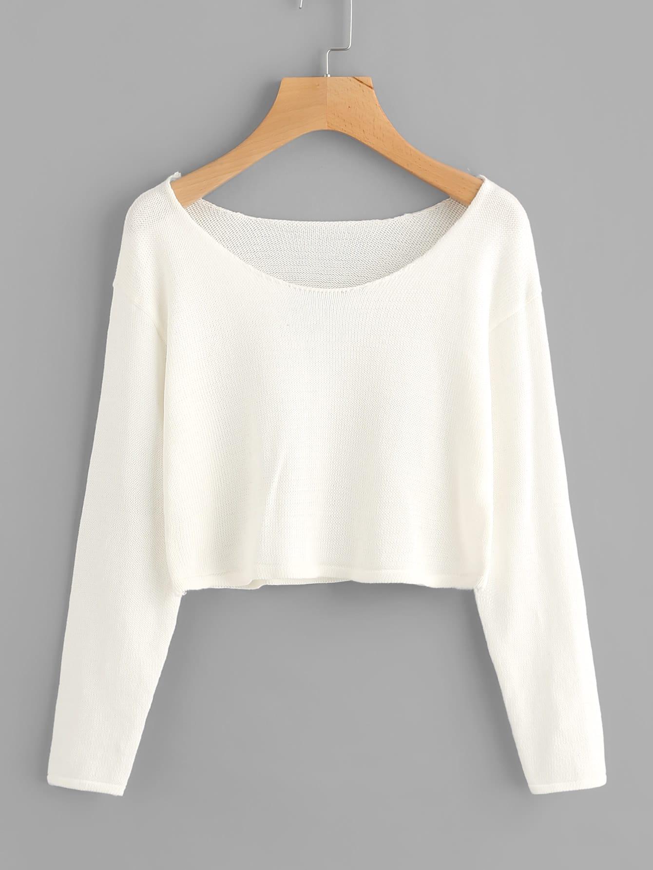 Drop Shoulder Crop Knit Sweater drop shoulder water color crop sweatshirt