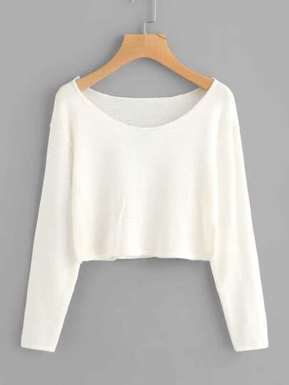 Drop Shoulder Crop Knit Sweater