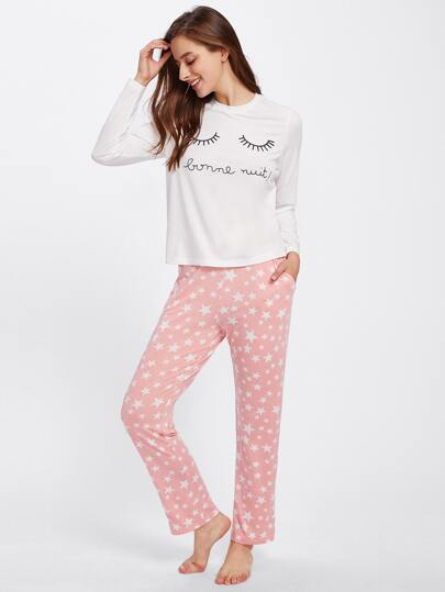 Eye Print Top & Star Print Sweatpants Pajama Set