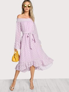 Bell Sleeve Ruffle Dip Hem Bardot Dress