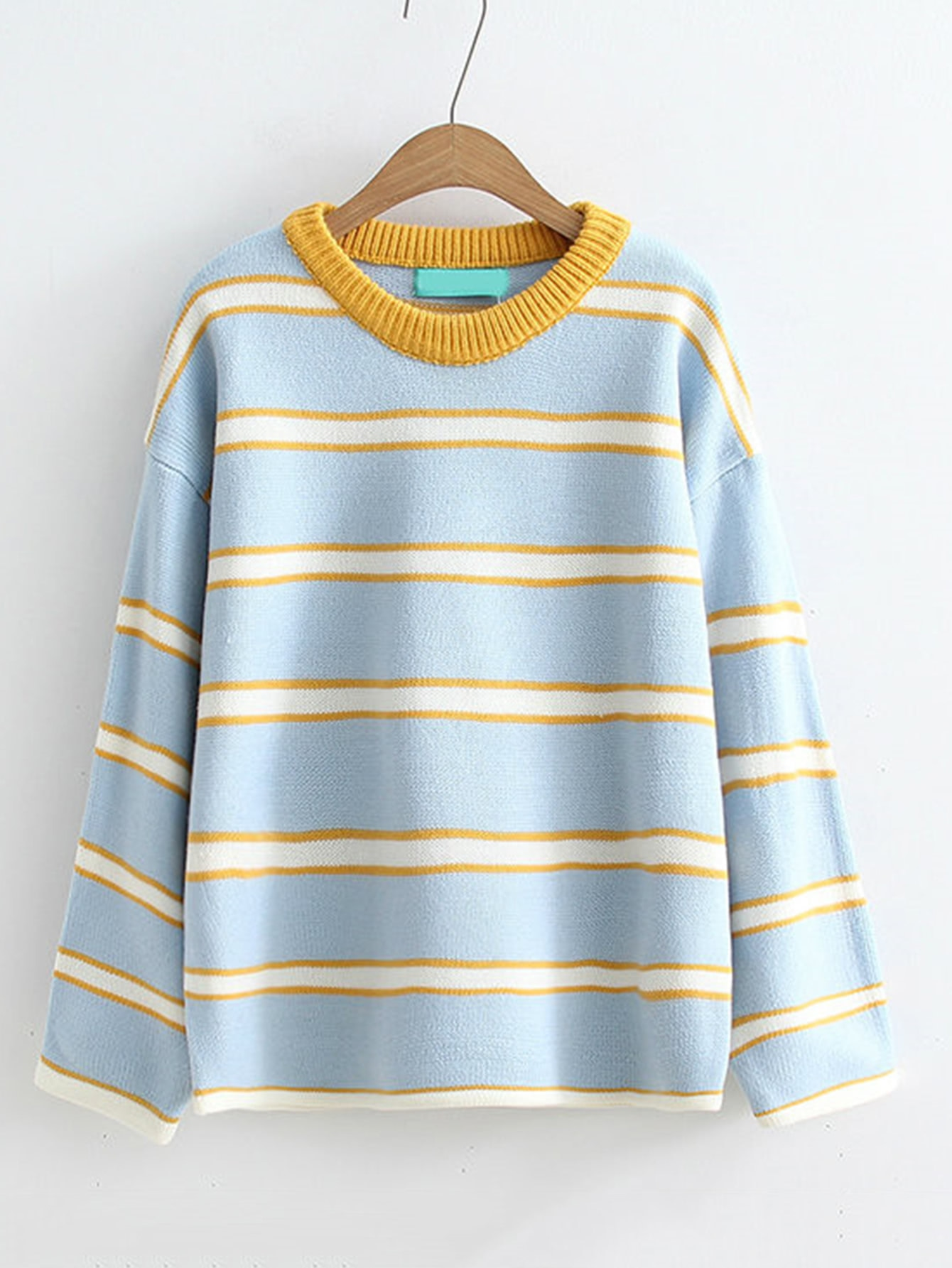 Drop Shoulder Striped Sweater plus size drop shoulder striped jumper sweater