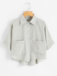 Dip Hem Dual Pockets Front Shirt