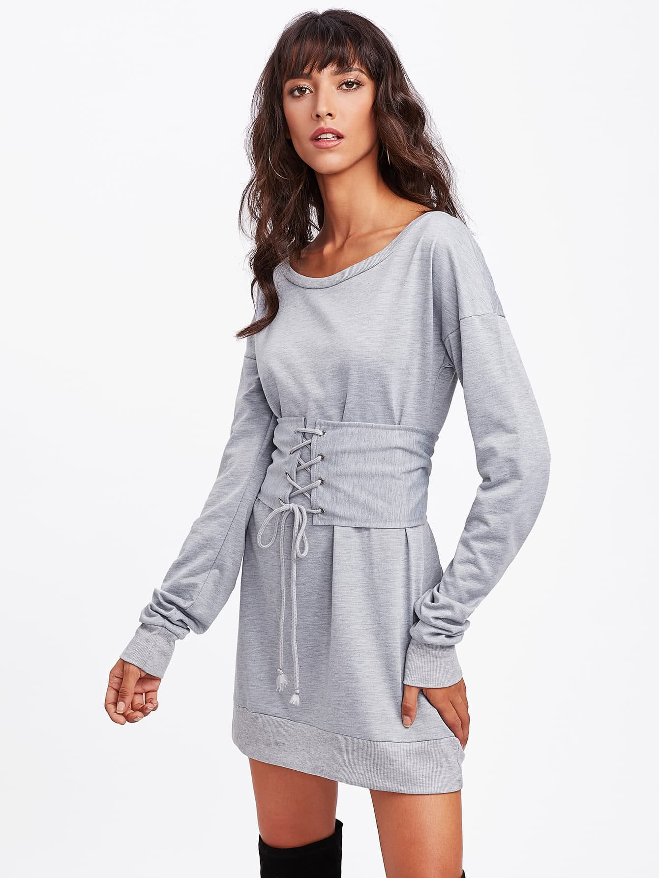 Drop Shoulder Marled Sweatshirt Dress With Corset Belt eyes print drop shoulder marled sweatshirt