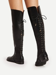 Lace Up Back Knee High PU Boots