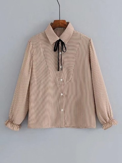 Fluted Sleeve Tied Striped Blouse