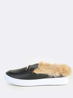 Patent Faux Fur Lined Loafer Sneakers BLACK