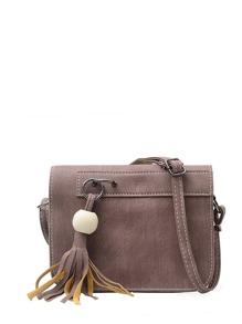 Tassel Detail Faux Leather Crossbody Bag