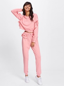 Drop Shoulder Flounce Crop Sweatshirt & Sweatpants Set
