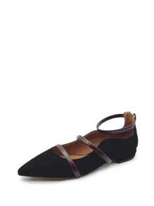 Pointed Toe Back Zipper Ballet Flats
