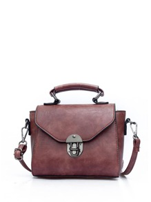 Pushlock Flap PU Shoulder Bag With Handle