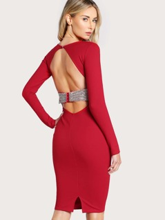 Open Back Long Sleeve Diamond Accent Dress RED