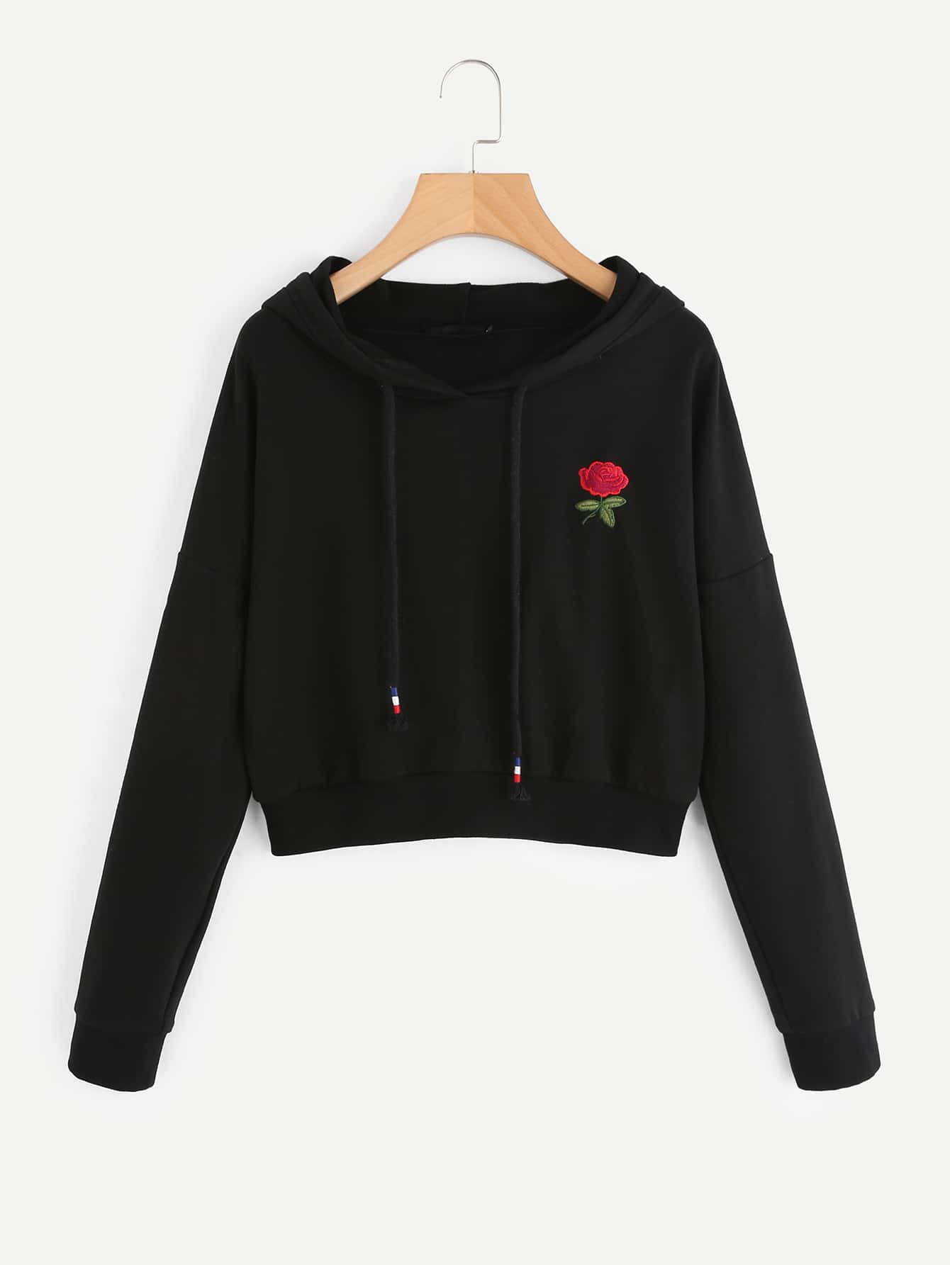 Drop Shoulder Rose Embroidered Hoodie rose embroidered drop shoulder denim shirt