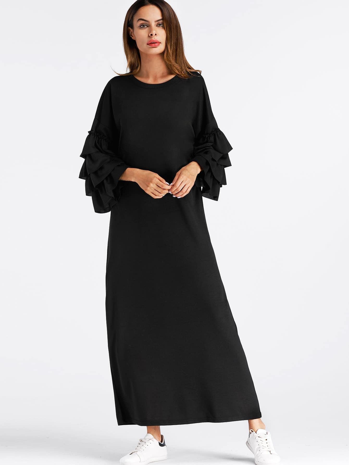 Tiered Frill Sleeve Long Hijab Dress