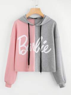 Two Tone Print Front Drop Shoulder Hoodie