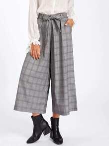 Tartan Plaid Tie Waist Wide Leg Pants